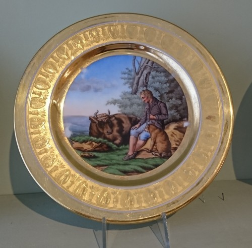 12 French Empire period Paris porcelain plates, Attributed to. Dihl et Guerhard - Porcelain & Faience Style Empire
