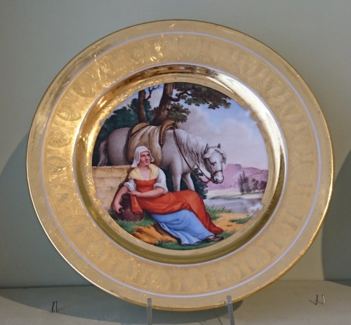 Porcelain & Faience  - 12 French Empire period Paris porcelain plates, Attributed to. Dihl et Guerhard