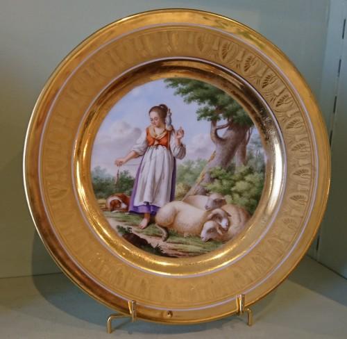Antiquités - 12 French Empire period Paris porcelain plates, Attributed to. Dihl et Guerhard
