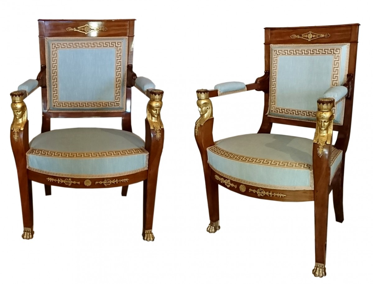 six fauteuils t tes d 39 egyptiennes en acajou attribu s. Black Bedroom Furniture Sets. Home Design Ideas