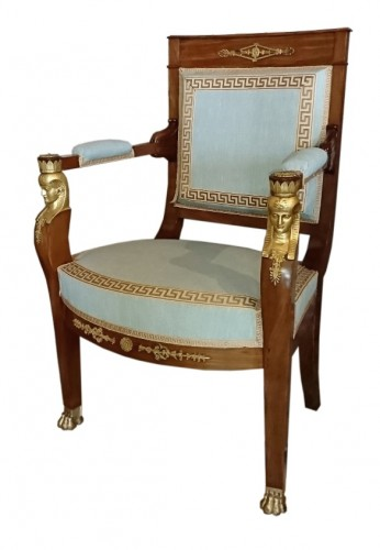 Four French Empire period mahogany armchairs, attributed to JACOB Frères - Seating Style Empire