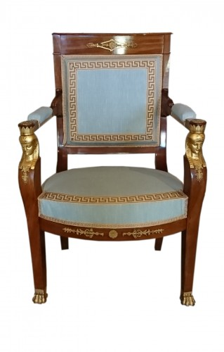 Seating  - Four French Empire period mahogany armchairs, attributed to JACOB Frères