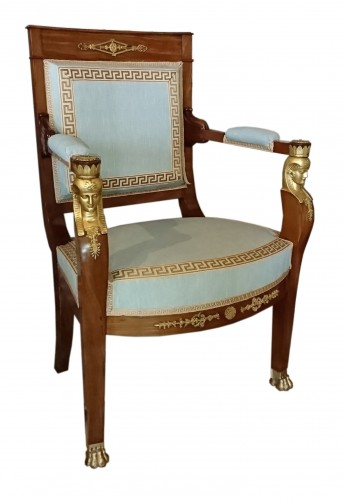 Four French Empire period mahogany armchairs, attributed to JACOB Frères -