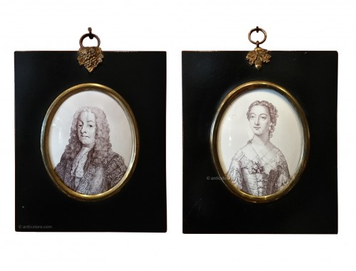 Enamel plaques Elizabeth Gunning and Henry Pelham, England, 1753