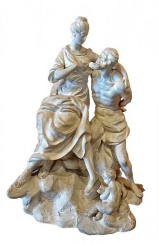 Roman Charity : white terracotta Luneville group, circa 1770