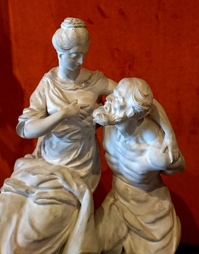 Sculpture  - Roman Charity : white terracotta Luneville group, circa 1770