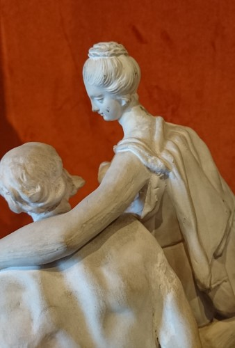 Roman Charity : white terracotta Luneville group, circa 1770 -