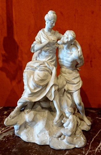 18th century - Roman Charity : white terracotta Luneville group, circa 1770