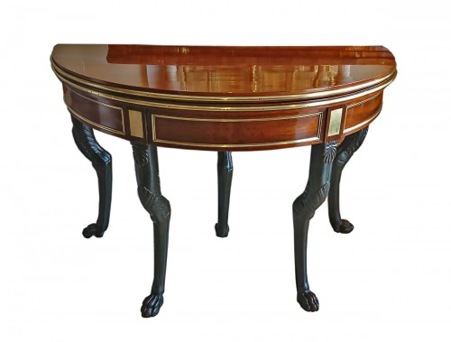 A French Directoire period semicircular mahoganny games table, c. 1800