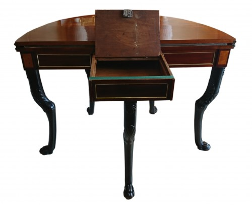 A French Directoire period semicircular mahoganny games table, c. 1800 -