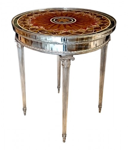 French Louis XVI style silvered bronze and marble table, circa 1880