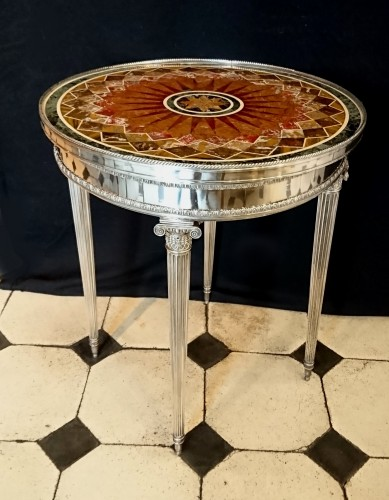 French Louis XVI style silvered bronze and marble table, circa 1880 - Furniture Style Napoléon III