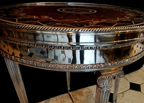 19th century - French Louis XVI style silvered bronze and marble table, circa 1880