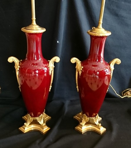 Lighting  - A pair of large French Napoleon III period sang de boeuf lamps