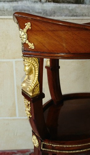 Small Empire period mahogany and gilt bronze table -