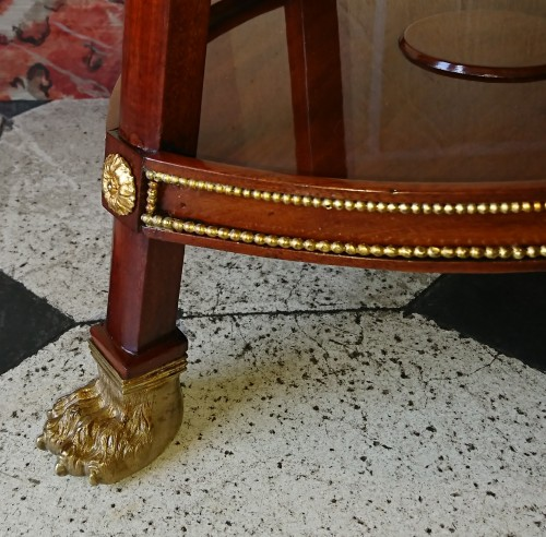 19th century - Small Empire period mahogany and gilt bronze table