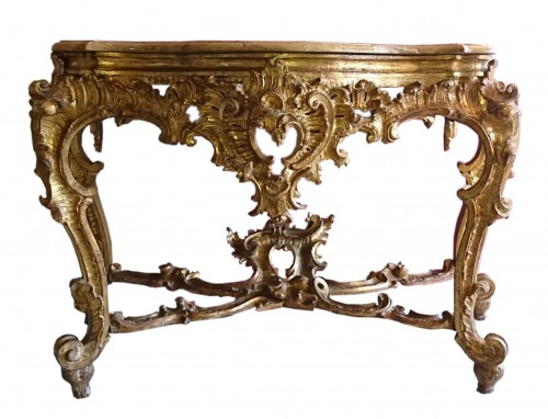 An Italian baroque carved and gilt wood console table, circa 1750