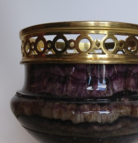 A French Restoration period Blue John and gilt bronze coupe, circa 1820 - Decorative Objects Style