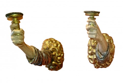 A pair of large Italian baroque candleholders, 17th century
