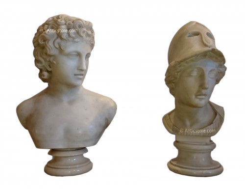 Apollo and Athena, Carrara marble busts, A. FROLI, late 19 th century
