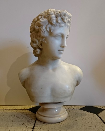 Sculpture  - Apollo and Athena, Carrara marble busts, A. FROLI, late 19 th century