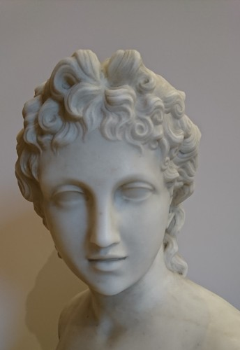 Antiquités - Apollo and Athena, Carrara marble busts, A. FROLI, late 19 th century
