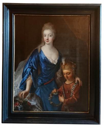 Marie Aurore of Koenigsmarck and his son Maurice de Saxe, by F. de TROY