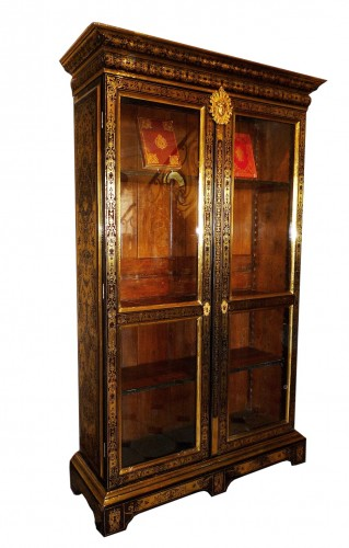 Antiquités - A French late Louis XIV period Boulle marquetry bookcase, attr. to SAGEOT