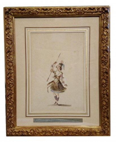 Pair of watercoloured project for opera costumes, attr. to BOQUET - Paintings & Drawings Style Louis XVI
