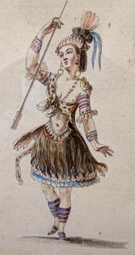 18th century - Pair of watercoloured project for opera costumes, attr. to BOQUET