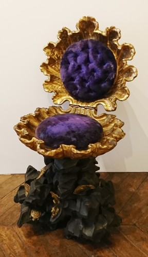 Seating  - An Italian baroque carved, lacquered and gilt wood grotto stool, c. 1830-50