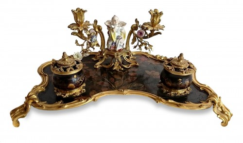 A large French Louis XV period lacquer, bronze and Meissen inkstand, c.1725