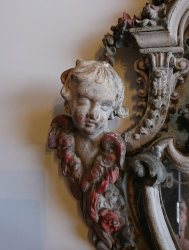 A small Genoese rococo carved and painted wood mirror, circa 1740 - Mirrors, Trumeau Style Louis XV