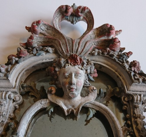Mirrors, Trumeau  - A small Genoese rococo carved and painted wood mirror, circa 1740