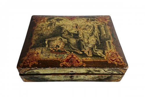 A Louis XV period Spa box of quadrille in vernis Martin lacquer, circa 1750