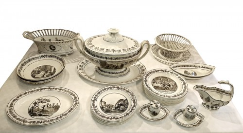 A composite set of 229 Creil faience fine pieces with black engraved decor