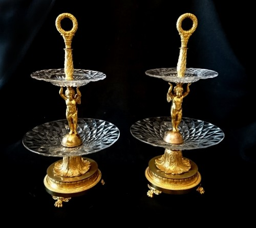 Empire - A pair of French Empire period ormolu and crystal etageres, circa 1810