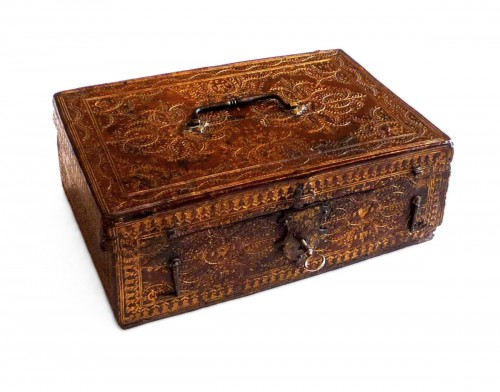 A Louis XIII Parisian leather casket with petits fers decoration