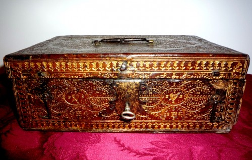 Curiosities  - A Louis XIII Parisian leather casket with petits fers decoration
