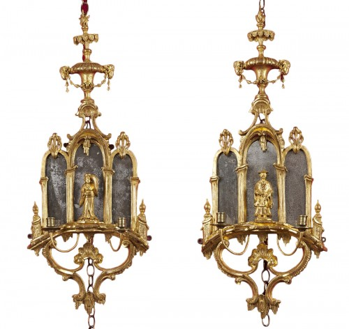 Pair of English George III girandoles