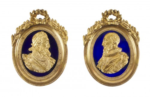 A pair of 18th century ormolu medallions of Henry IV  and Sully