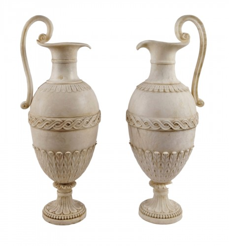 A pair of French Directoire alabaster amphorae