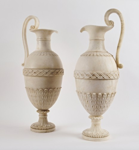 A pair of French Directoire alabaster amphorae -