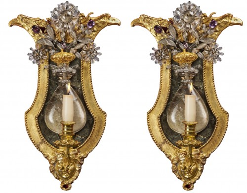 Pair of Swedish rock crystal, amethyst and gilt bronze girandoles, c. 1800