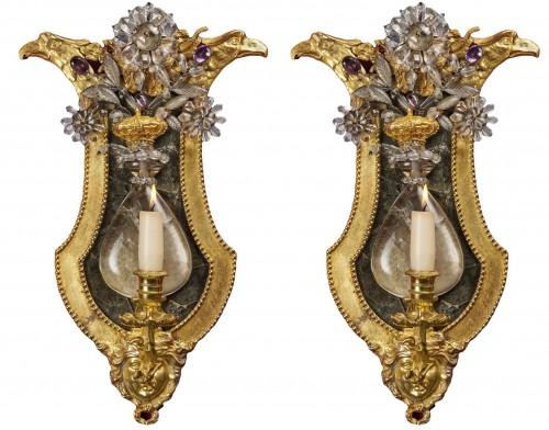 Pair of Swedish rock crystal, amethyst and gilt bronze girandoles, c. 1800