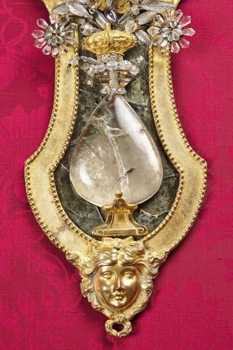 Lighting  - Pair of Swedish rock crystal, amethyst and gilt bronze girandoles, c. 1800