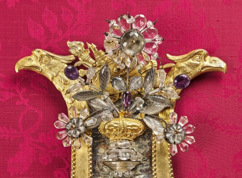 Pair of Swedish rock crystal, amethyst and gilt bronze girandoles, c. 1800 -