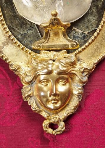 19th century - Pair of Swedish rock crystal, amethyst and gilt bronze girandoles, c. 1800