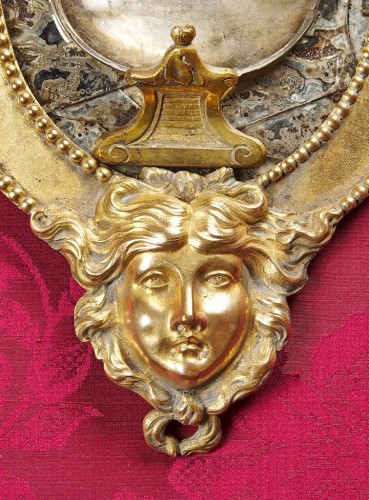 Pair of Swedish rock crystal, amethyst and gilt bronze girandoles, c. 1800 - Empire