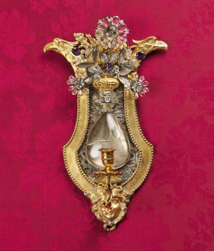 Empire - Pair of Swedish rock crystal, amethyst and gilt bronze girandoles, c. 1800